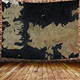 Movie World Map Backdrop Tapestry for Photography Song of Ice and Fire Game of Thrones Background Wall Hanging,Fans Party Backdrop Tapestry 80×60 Inches DBZY0653GM