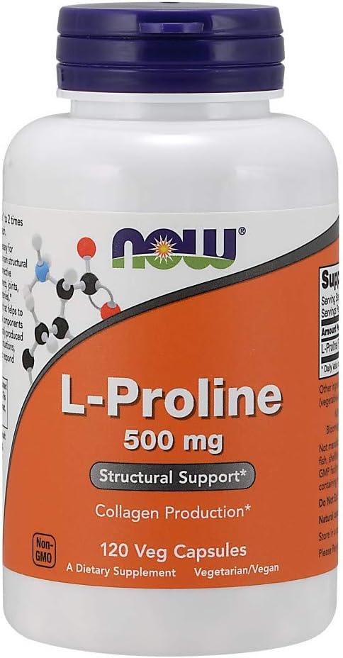Now Foods L-Proline 500mg Standard - 120 Cápsulas