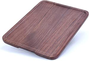 ALDDN Wood Serving Tray, Natural Handcrafted Black Walnut Rectangular Decorative Trays, Food Tray Serving Platters with Gripper for Coffee Wine Cocktail Fruit Meals (15.8x11.8 in)