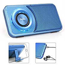 Reacher SoundSlim Small Bluetooth Wireless Speakers Phone stand, Voice Recorder With FM Radio, Headphone Jack Audio out, TF Card Reader, LED mood lights,Slim Mini Size for Cellphone (Blue)