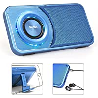 Reacher SoundSlim Small Bluetooth Wireless Speakers Voice Recorder With FM Radio, Headphone Jack Audio out,Phone stand, TF Card Reader, LED mood lights,Slim Mini Size for Cellphone (Blue)
