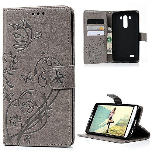 for LG G3 Case (5.5 inch), Premium PU Leather Wallet Case Embossed Floral Flip Folio Magnetic Book Skin Shell with Credit Card Slots and Kickstand Wrist Strap Soft TPU Bumper Full Proteciton, Gray
