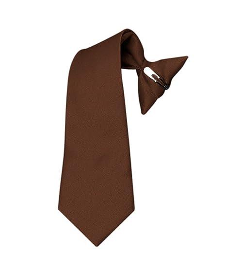 Boy's Solid Clip on Tie (8 inch, Brown)
