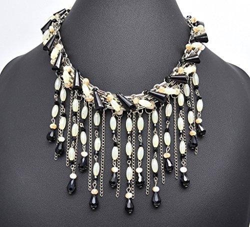 CC823 - Collier Plastron Tour de Cou Pierres et Cascade Multi-Chaînes et Perles Noir/Beige - Mode Fantaisie