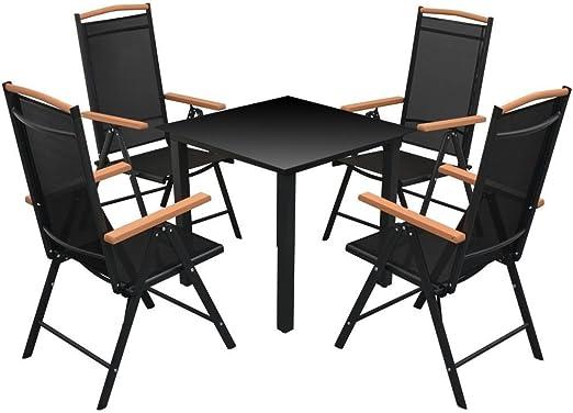 LD Set de 5 pièces Aluminium Alu Ensemble de mobilier de ...