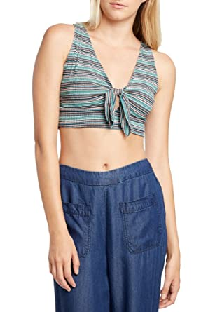 e6958362a4867 Womens Fashion Low V Neck Ribbed colorful Kntted Tie Crop Top USA Jade Mult  S