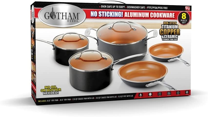 Knifes and More Gotham Steel Complete Kitchen Cookware and Cutlery Set Includes 4 Quart Stock Pot Fry Pans