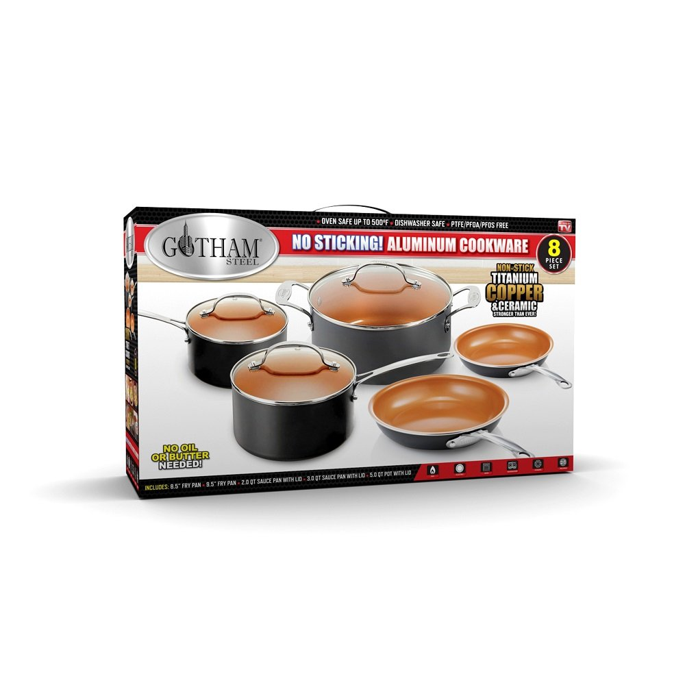 Gotham Steel 8-Piece Kitchen Set with Non-Stick Ti-Cerama Copper Coating by Chef Daniel Green - Includes Skillets, Fry Pans, Stock Pots and Sauce Pan