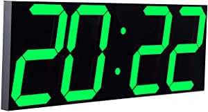 """CHKOSDA Digital LED Wall Clock, Oversize Wall Clock with 6"""" Digital, Remote Control Count up/Countdown Timer Clock, Auto Dimmer, Big Calendar and Thermometer(Green)"""