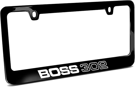 Ford Mustang Boss 302 Black Metal License Plate Frame Car Beyond Store