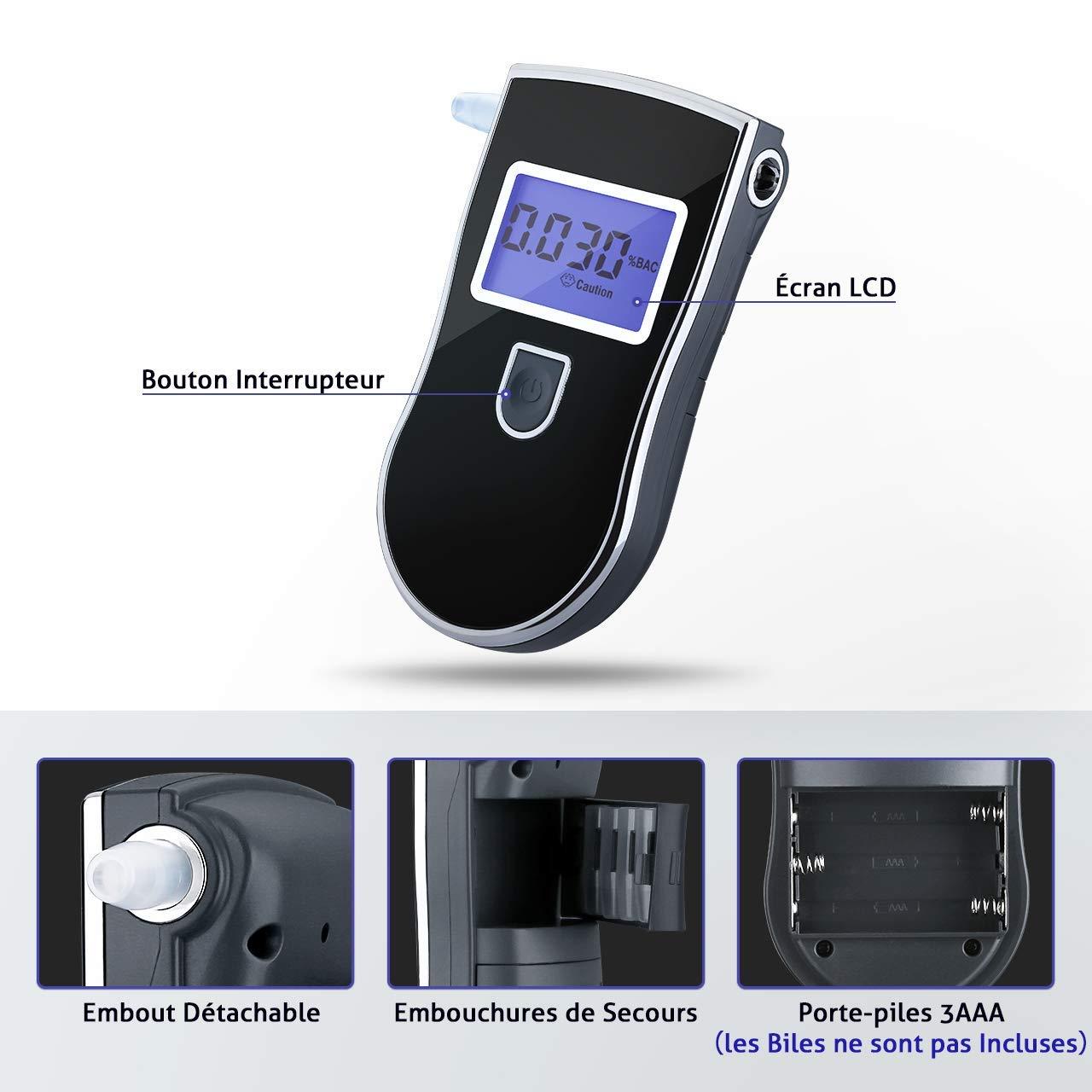 Ethylotest Homologu/é Affichage Pr/écise 3 Unit/és avec /Écran LCD Test Alcool/émie 5 Embouts Suppl/émentaires Vtin Ethylotest Electronique Haute Sensibilit/é