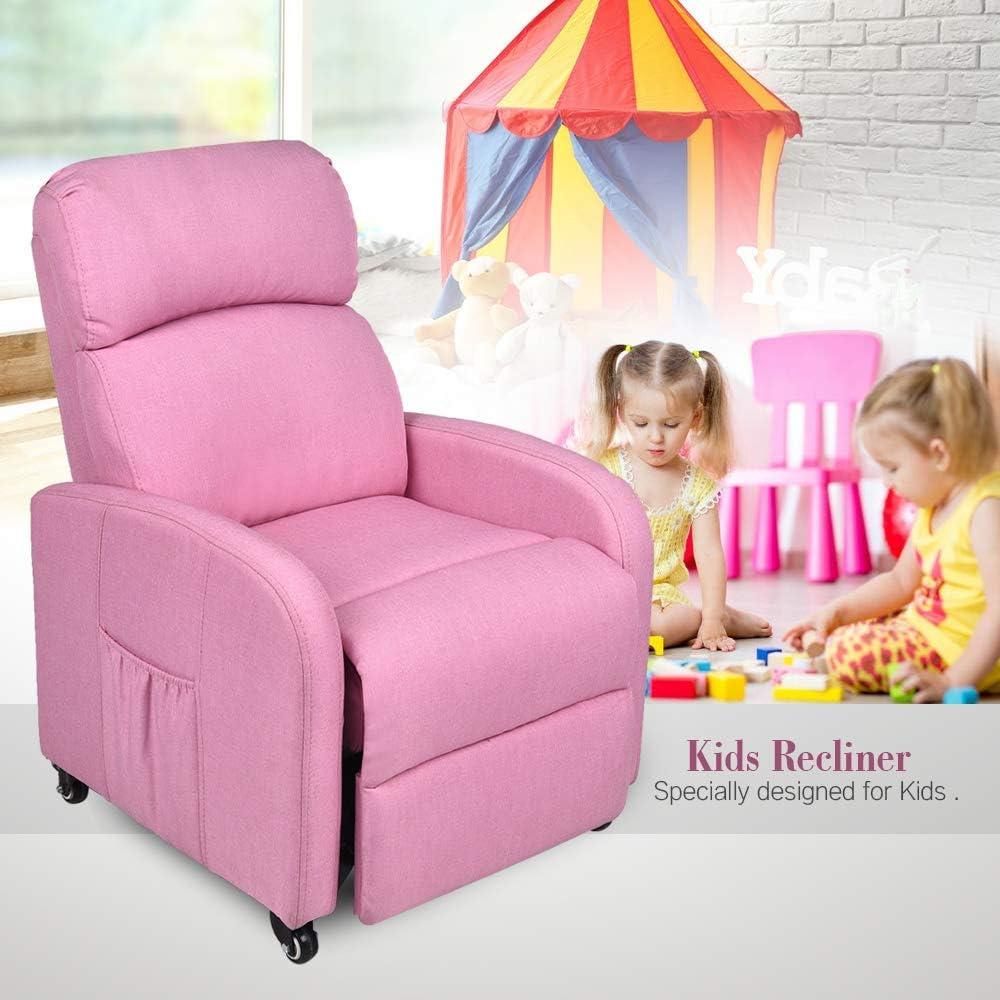 Fullwatt Kids Recliner Chair w Lockable Carster Wheels,Side Storage Pocket,Fabric Recliner Chair Adjustable Ergonomic Single Recliner Sofa Antiskid Fabric Sofa Living Room Chair Pink-Kids