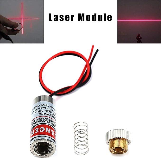 HiLetgo 3pcs 650nm 5mw Laser Head Laser Tube Adjustable Focus 3~5V Red Laser Tube for Sight Positioning Sighting Telescope Dot