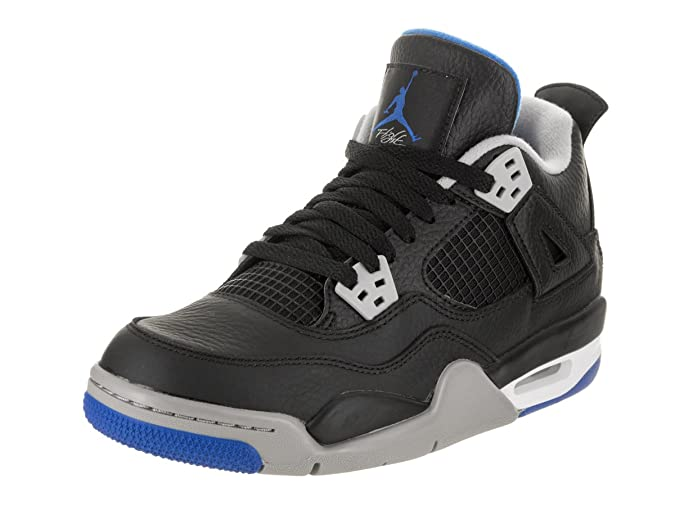 Amazon.com | NIKE Air Jordan 4 Retro BG Motorsports Alternate Big Kids Basketball Shoes Black/Soar/Matte Silver, 5 | Fashion Sneakers