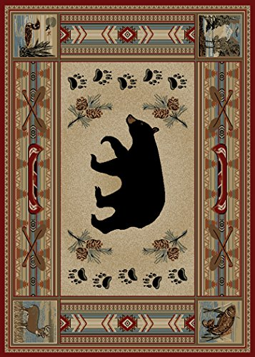 Rug Empire Rustic Lodge Bear 8 x 10 Area Rug, 7'10 W x 9'10 L, Red
