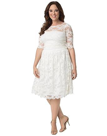 0f57cdbcee37d Kiyonna Women's Plus Size Aurora Lace Wedding Dress at Amazon Women's  Clothing store:
