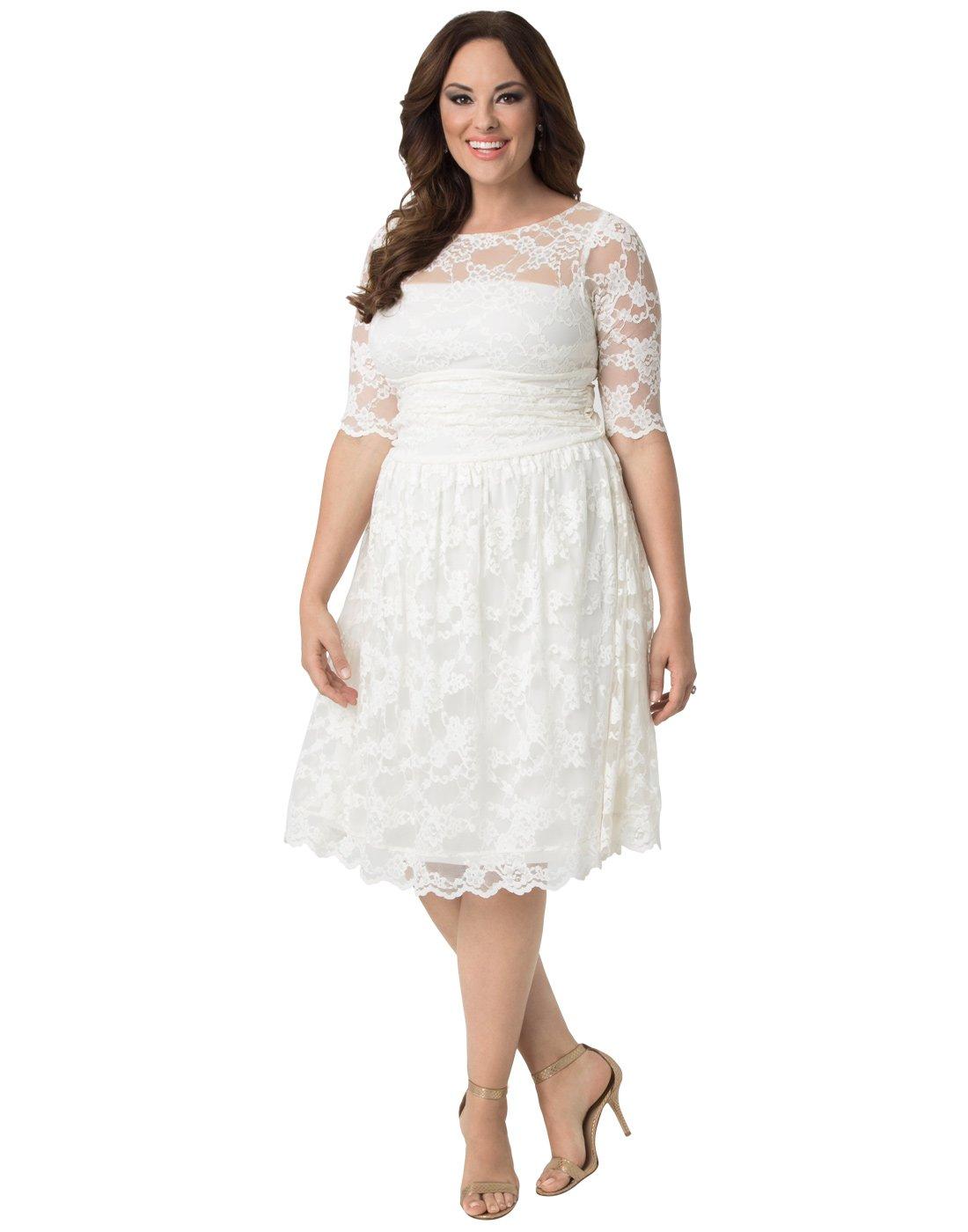 Kiyonna Women's Plus Size Aurora Lace Wedding Dress 3X Ivory