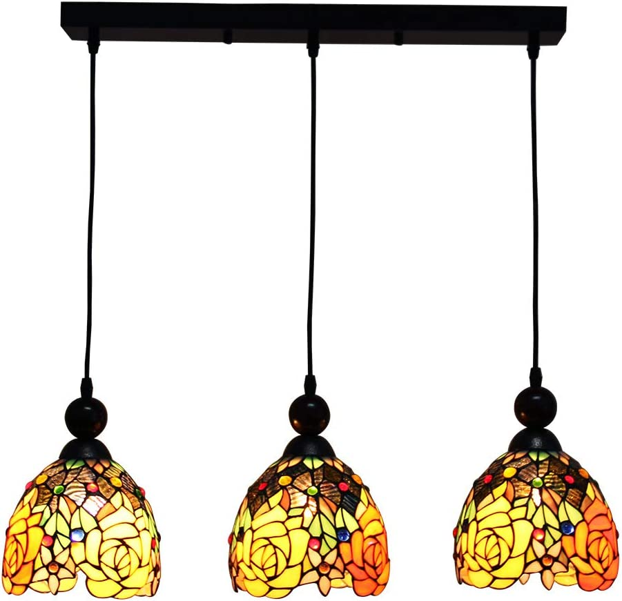 Makenier Vintage Tiffany Style Stained Glass 3-Light Rose Flower Lampshade Dining Room Bar Pendant Lamp, 7 Inches Lampshade