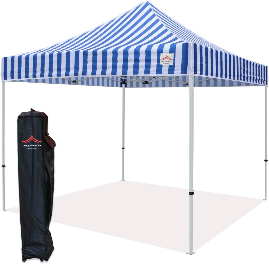 UNIQUECANOPY 10 x10 Ez Pop Up Canopy Tent Commercial Instant Shelter, with Heavy Duty Roller Bag, 10×10 FT Blue White Strip