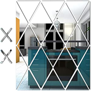Showhappy 17PCS Removable Acrylic Mirror Setting Wall Stickers Decor, Family DIY Wall Sticker Decal,Geometric Art Diamond Shape Mirror Tiles for Home Kitchen Living Room Bedroom TV Background Decor