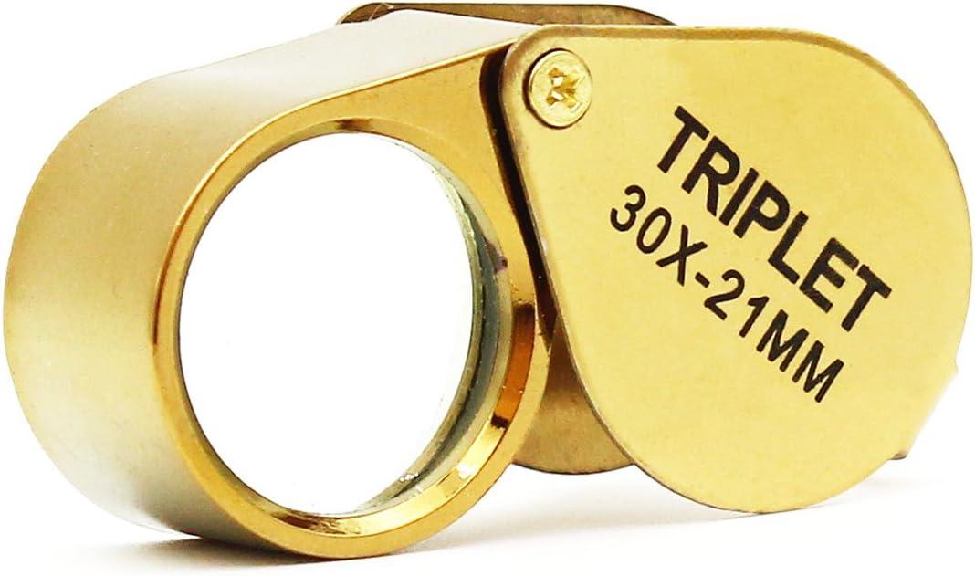 Lupa lupa de joyero de bolsillo, lupa de lente de vidrio 30X para joyería, monedas, sellos, antigüedades y más (dorado)