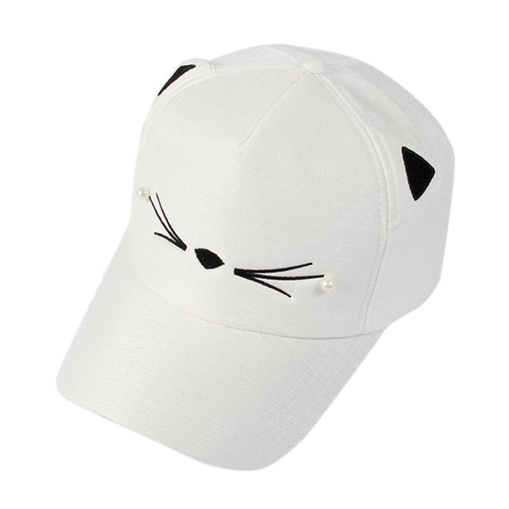 UnisexSpring Fashion Tide Pearl Wild Cute Student Cat Ears Visor Baseball Cap Sports Sun Hiking Hat Spring and Summer Visor Hat Headgear