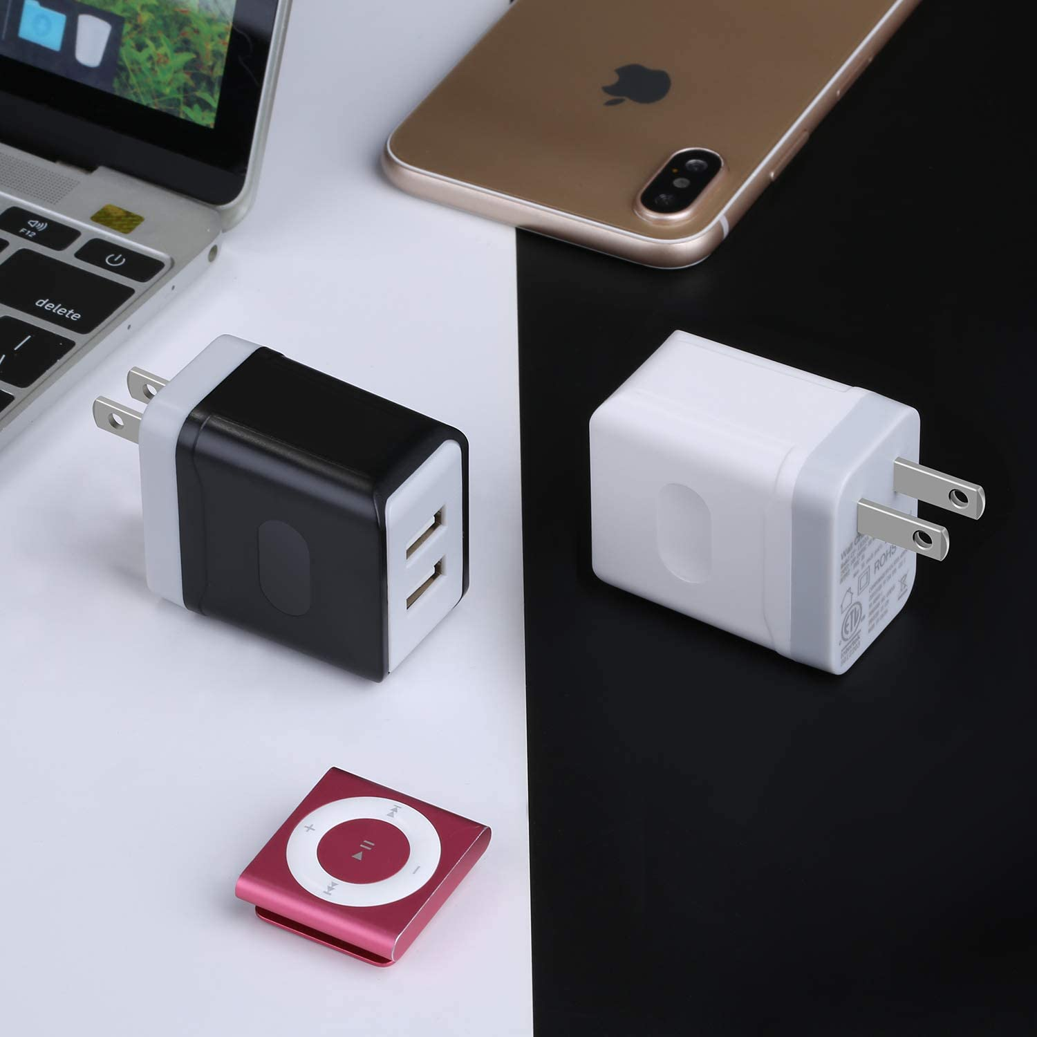 Black White OKRAY USB Wall Charger Android 2 Pack 5V//3A Portable Dual USB Travel Power Adapter Wall Charger Plug Charging Block Phone Charger with Wall Plug Compatible iPhone XS Samsung S10//S9//S8