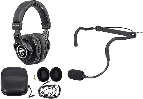 Samson QEX - Auriculares de diadema con micrófono + funda + ...