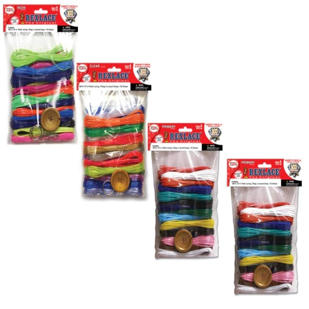 Pepperell Rexlace Plastic Lacing Cord| Total 1800 Feet of Lace Cords for Lanyard String, Boondoggle Craft, Cording for Jewelry Making| Primary, Neon, Clear Colors| Set of 4 Packs, 450 Feet In Each Kit by Pepperell