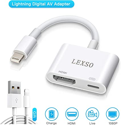 For iPhone Screen To TV Cable HDMI 1080p IOS 11 Adapter USB Charger Converter