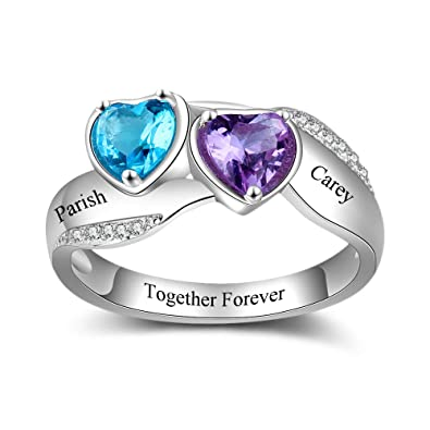 97096ece5e Lam Hub Fong Personalized Engraved Name Promise Rings for Her 2 Simulated  Birthstone Engagement Wedding Rings