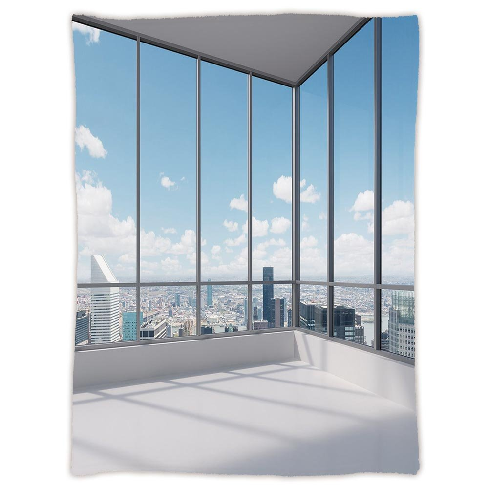 iPrint Super Soft Throw Blanket Custom Design Cozy Fleece Blanket,Modern Decor,Cityscape Office with Big Windows Clear Sunny Sky View Photo,Sky Blue Grey and White,Perfect for Couch Sofa or Bed