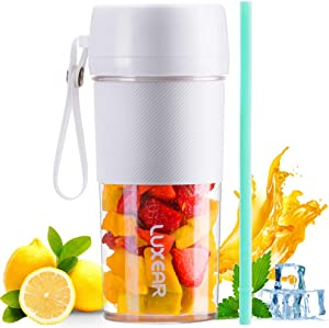 LUXEAR Portable Blender for Shakes and Smoothies, Cordless Mini Personal Size Blender with USB Rechargeable, BPA Free Ice Blender Mixer Juicer Cup for Home Office Sports Travel,350ML/12.3oz, White