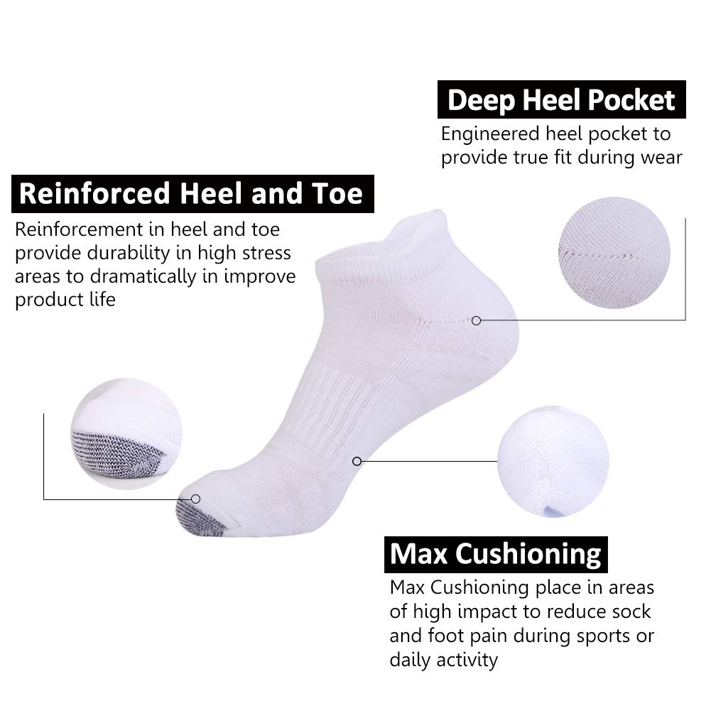 Mens Ankle Athletic Socks with Performance Cushion Tab for Sports Running 6Pack by JOYNÉE (Image #2)
