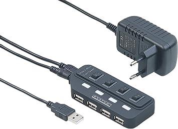 Xystec USB Leiste: Aktiver USB 2.0 Hub mit 4 Ports, einzeln schaltbar, 2 A Netzteil (USB Hub mit Schalter)