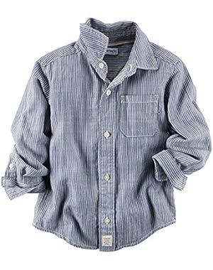 Carter's Boys Striped Button-Down Shirt, Blue/White