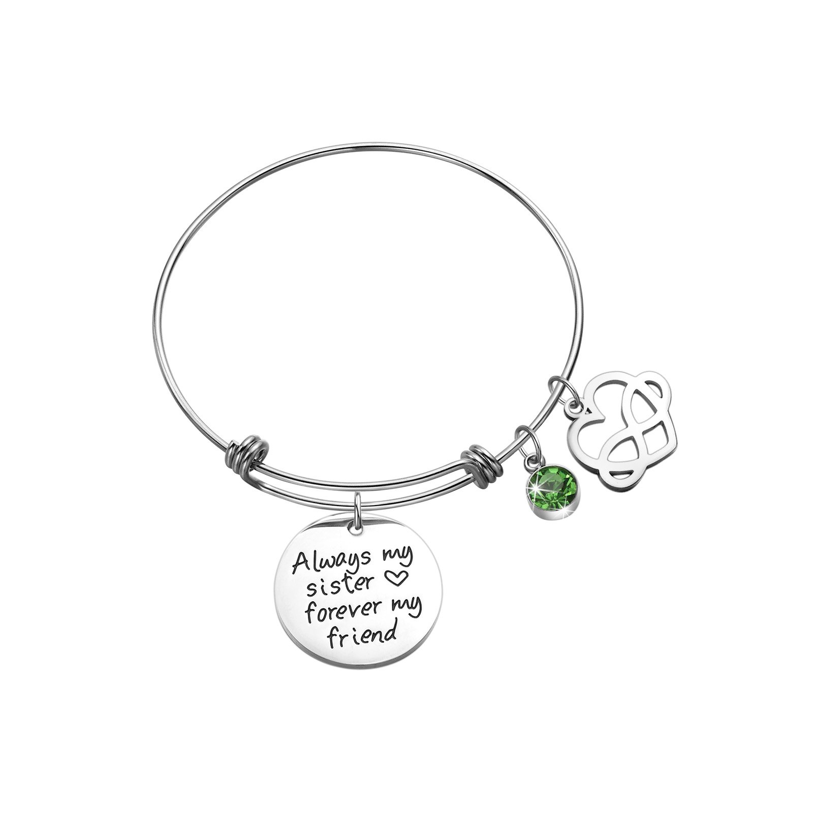 Sunflower Jewellery Birthstone Charm Bracelet Always My Sister Forever My Friends (August)