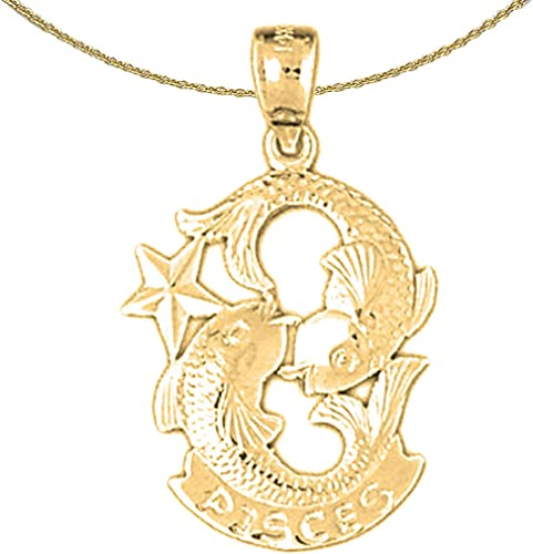 Rhodium-plated 925 Silver Zodiac Jewels Obsession Zodiac Pisces Necklace Pisces Pendant with 18 Necklace