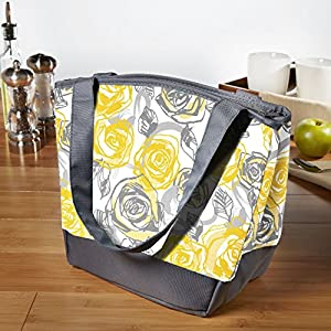 Fit & Fresh Ladies Hyannis Insulated Designer Lunch Bag with Zipper (Yellow Grey Roses)