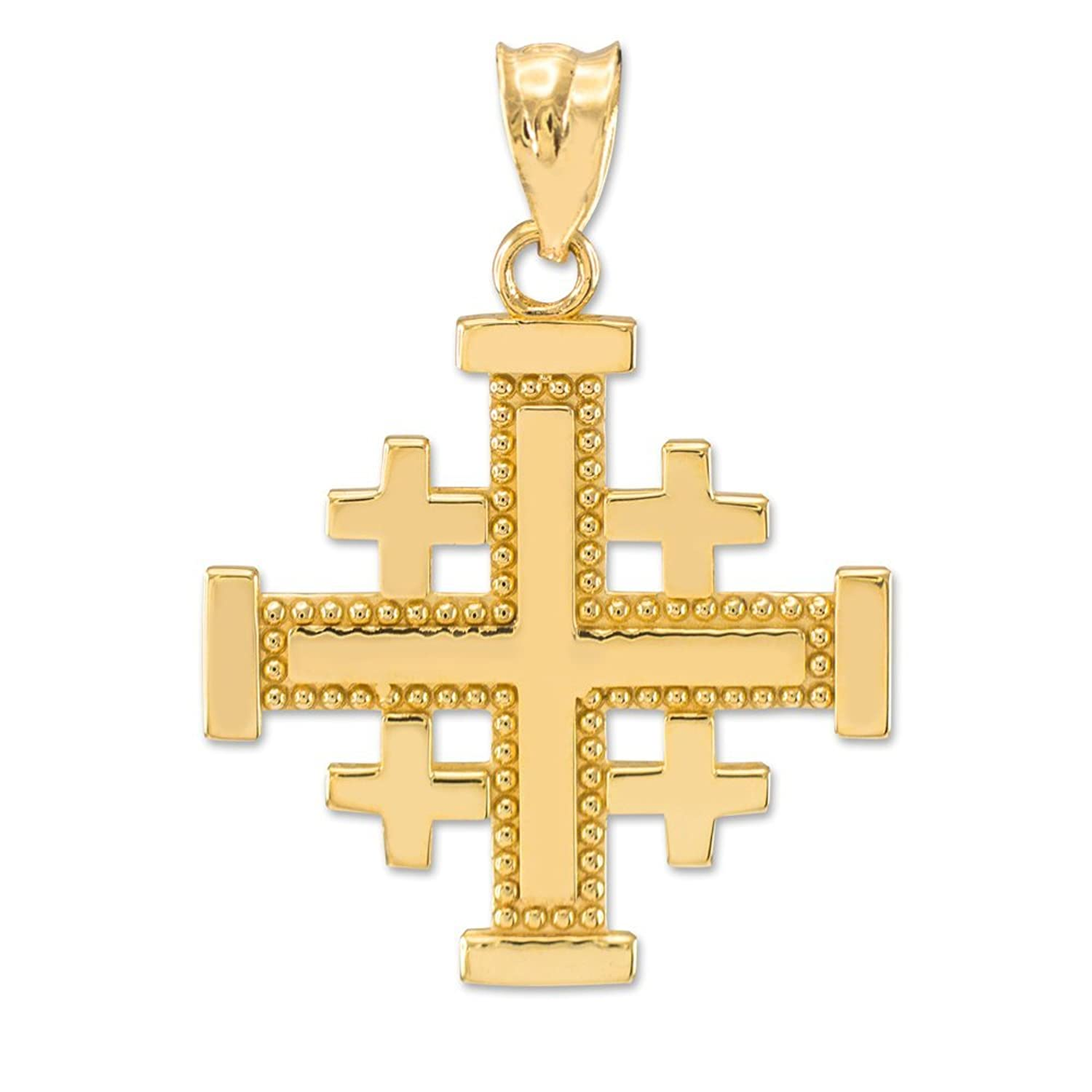 gold min cross red gem zircon plated pendant product garnet gems jerusalem necklace with