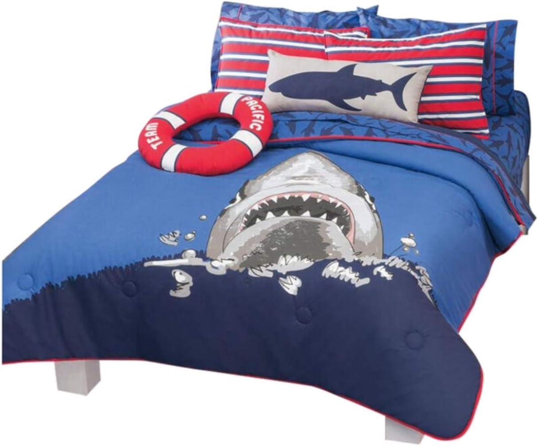 SHARK ATTACK KIDS BOYS REVERSIBLE COMFORTER SET AND SHEET SET 9 PCS FULL