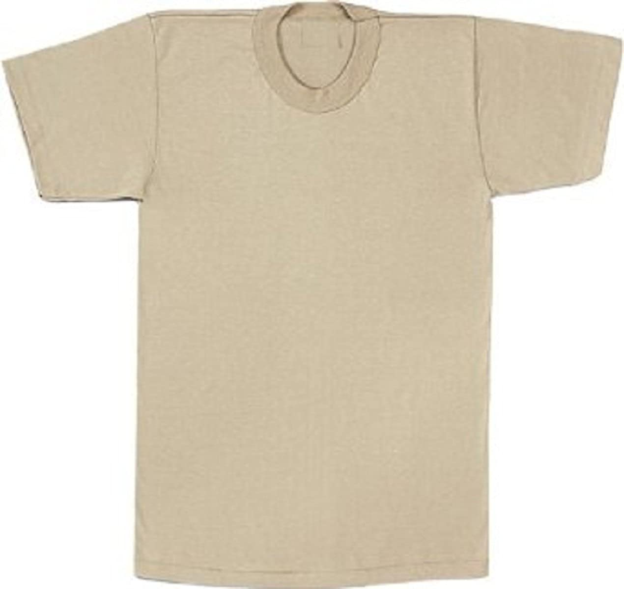 Desert Sand Tan Short Sleeve Solid Military T-Shirt Actual Issue Pkg 3 Shirts
