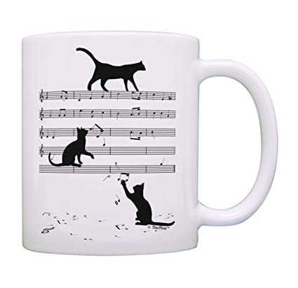 Cat Themed Gifts Cat Sheet Music Cat Cup Cat Related Gifts Musical Cats  Coffee Mug Tea Cup White