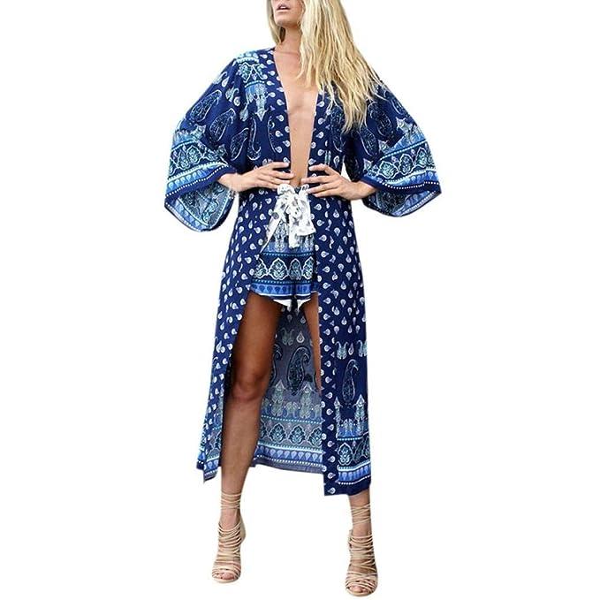 Mujer Blusa Vestido Anchos Chiffon Cardigan Primavera Otoño Flores Delgado Especial Estilo Manga Larga Estampadas Cómodo