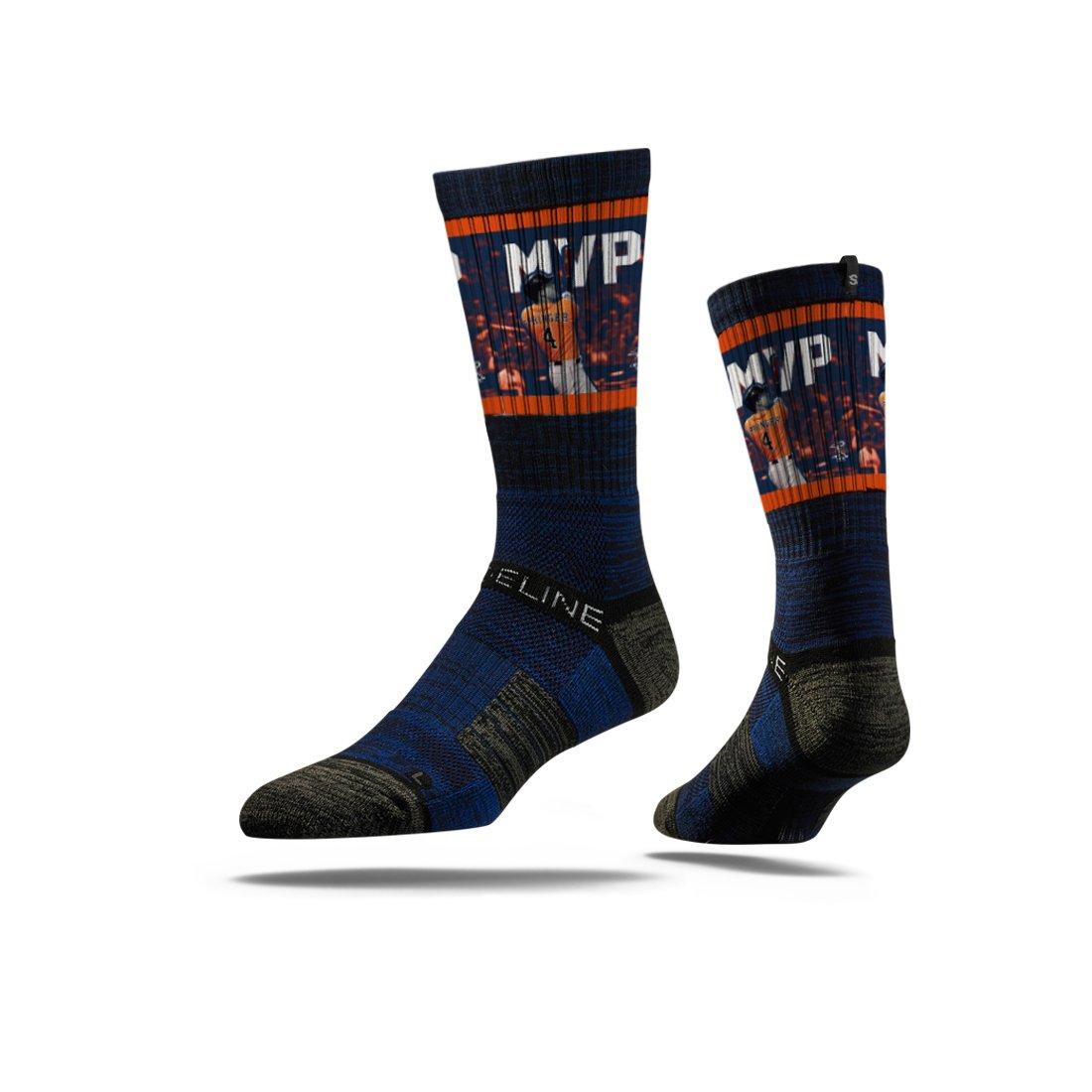 Strideline MLB PA Houston Astros World Series MVP George Springer Premium Crew Socks, Navy, One Size