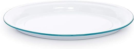 18 inch Enamelware Oval Platter Turquoise//White Splatter