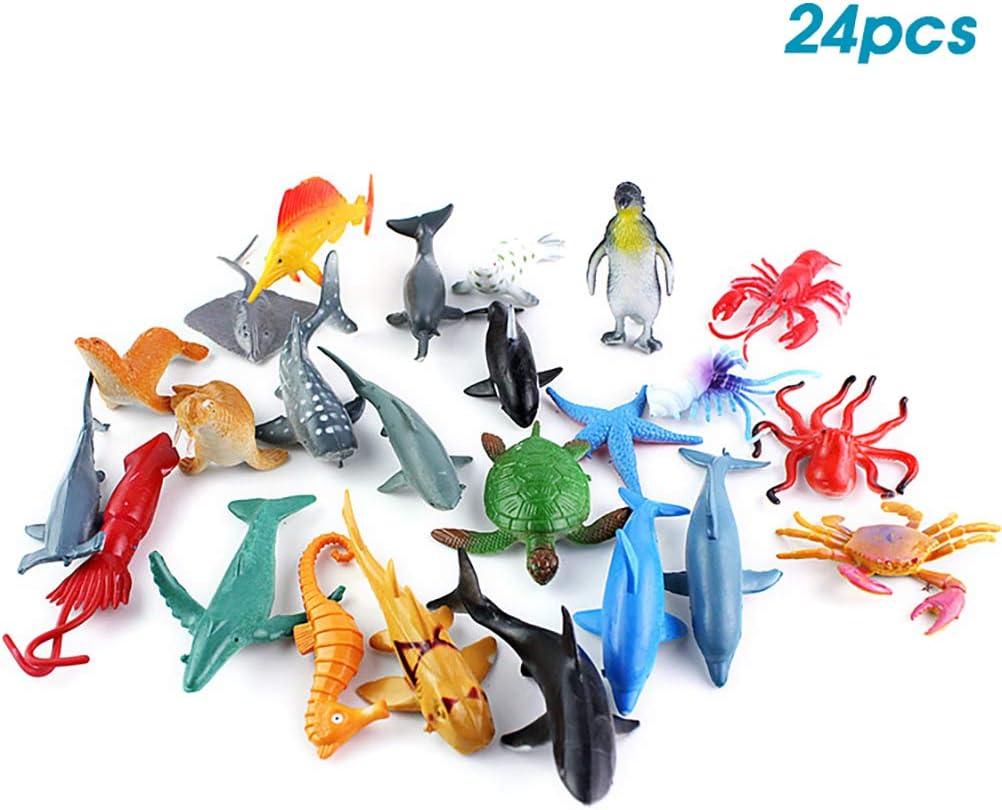 Borstu Animal Marino Figuras de acción 24 Piezas Animales Marinos Juguetes educativos Figura de plástico coleccionables Figura de Anime Juguetes para niños 6 cm