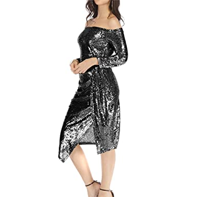 4b778150fe2e Keliay Bargain Women Off Shoulder Bag Hips Open Collar Collar Sequin Dress  Dinner Party Dress Black