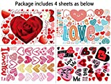 140 PCS Valentines Day Window Clings Heart Stickers Decal - Party Decorations Supplies