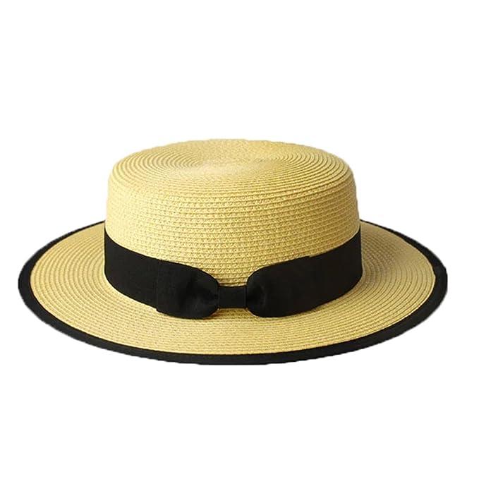 Sombrero Cordobés Verano Hombres Chicos Mujeres Paja Contraste Canotier  Sombrero de Sol-Amarillo Claro  Amazon.es  Ropa y accesorios aeec50c814e